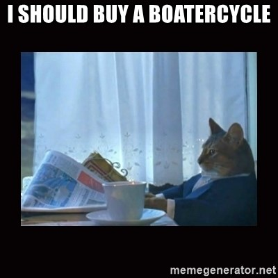 i should buy a boat cat - I SHOULD BUY A BOATERCYCLE