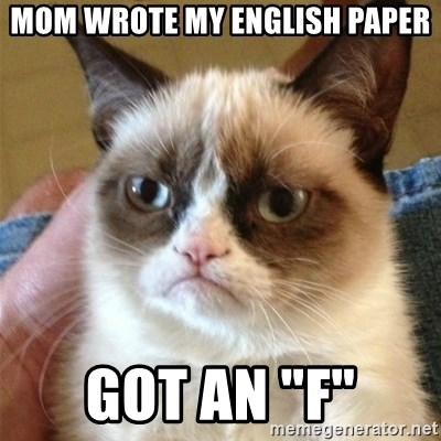 "Grumpy Cat  - Mom wrote my english paper Got an ""F"""