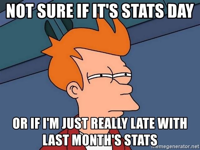Futurama Fry - Not sure if it's stats day or if I'm just really late with last month's stats
