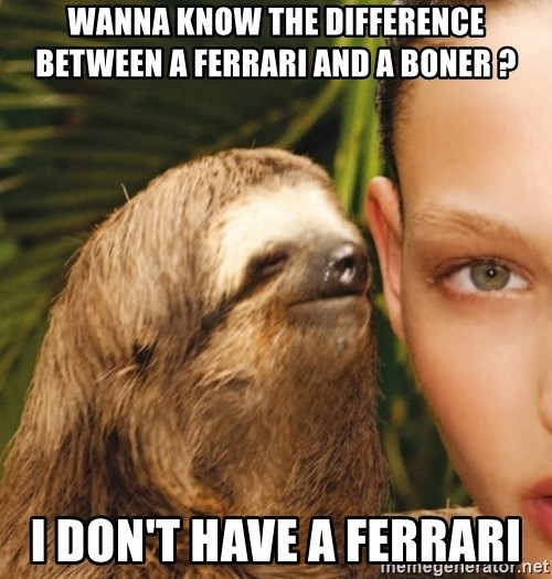 The Rape Sloth - Wanna know tHe difference between a ferraRi and a Boner ?  I don't have a Ferrari