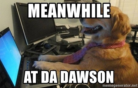I have no idea what I'm doing - Dog with Tie - meanwhile at da dawson