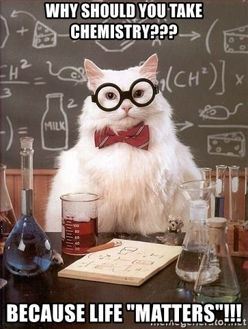 "Chemistry Cat - why should you take chemistry??? because life ""matters""!!!"