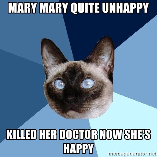 Chronic Illness Cat - Mary Mary quite unhappy killed her doctor now she's happy