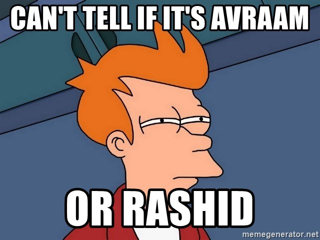 Futurama Fry - Can't tell if it's Avraam Or rashid