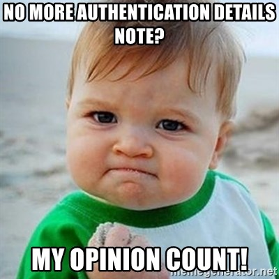Victory Baby - No more authentication details note? My opinion count!