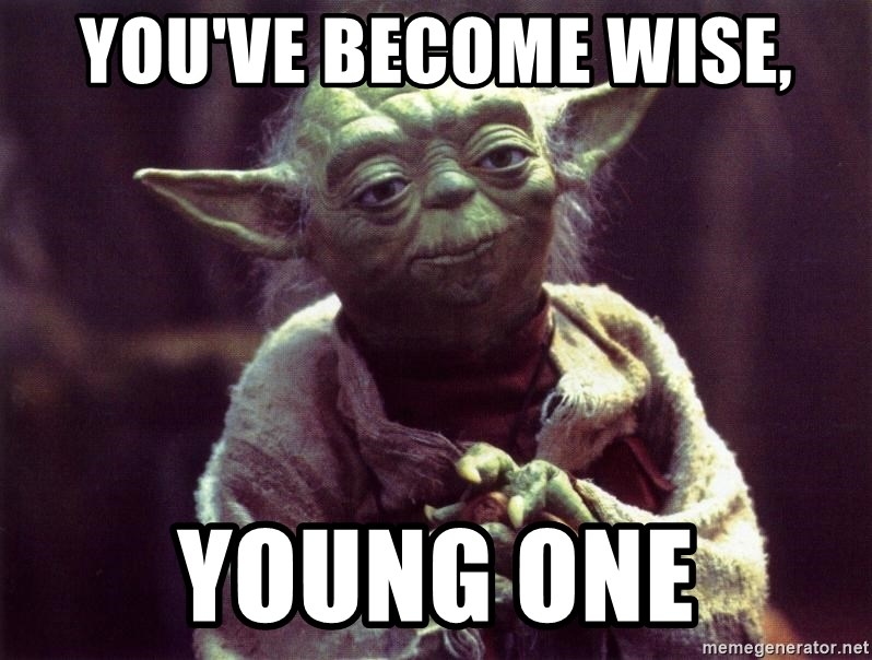 Yoda - You've become wise, Young ONE