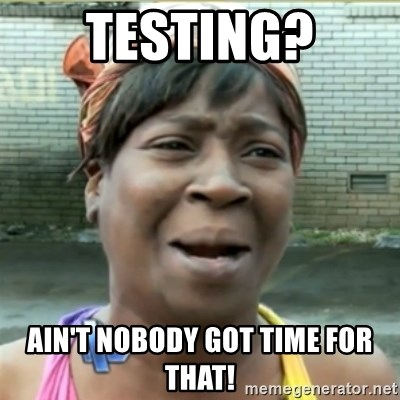 Ain't Nobody got time fo that - testing? ain't nobody got time for that!
