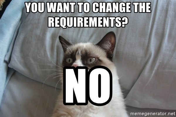 Grumpy cat good - you want to change the requirements? no