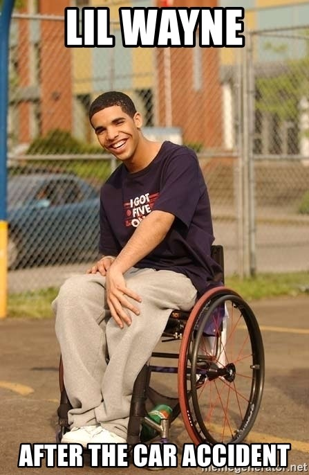 Drake Wheelchair - Lil Wayne after the car accident