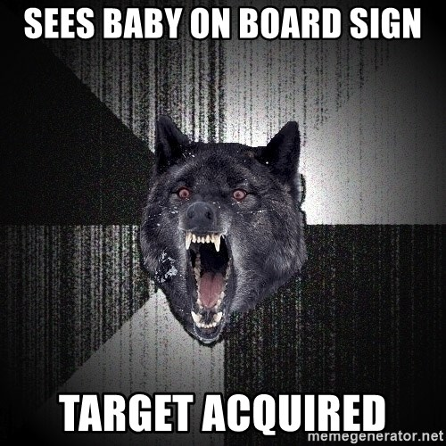 Insanity Wolf - SEES BABY ON BOARD SIGN TARGET ACQUIRED