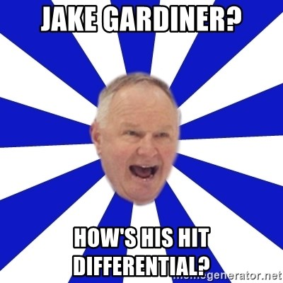 Crafty Randy - jake gardiner? how's his hit differential?