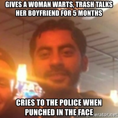 Andy Infante Best Bartender - gives a woman warts, trash talks her boyfriend for 5 months cries to the police when punched in the face