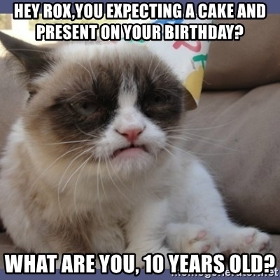 Birthday Grumpy Cat - hey rox,you expecting a cake and present on your birthday? what are you, 10 years old?