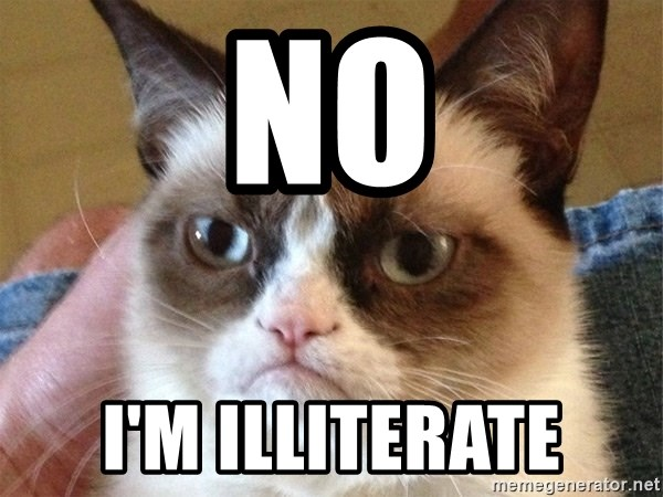 Angry Cat Meme - NO I'm illiterate