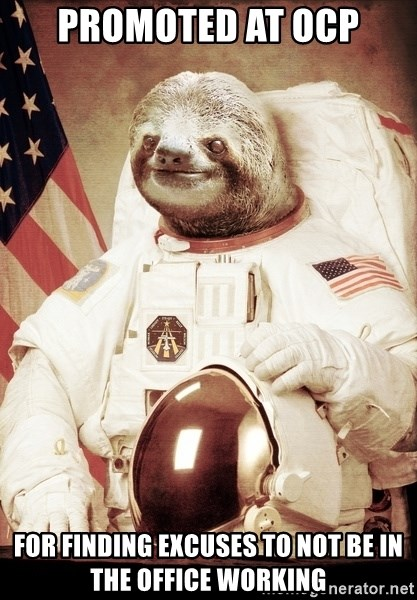 space sloth - promoted at OCP for finding excuses to not be in the office working