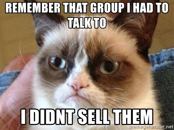 Angry Cat Meme - Remember that group I had to talk to I dIdnt sell them