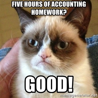 Grumpy Cat  - fIVE HOURS OF ACCOUNTING hOMEWORK? gOOD!