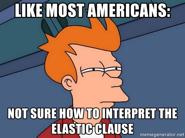 Futurama Fry - Like Most Americans: NOT SURE HOW TO INTERPRET THE ELASTIC CLaUSE
