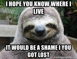 Sexual Sloth - I HOPE YOU KNOW WHERE I LIVE IT WOULD BE A SHAME I YOU GOT LOST