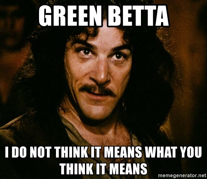 Inigo Montoya - Green betta I do not think it means what you think it means