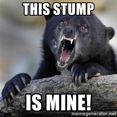 Insane Confession Bear - THIS STUMP IS MINE!