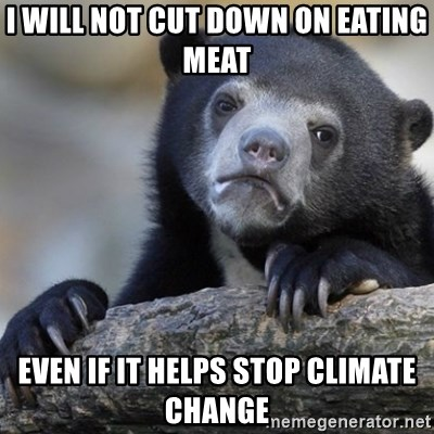 Confession Bear - I will not cut down on eating meat even if it helps stop climate change