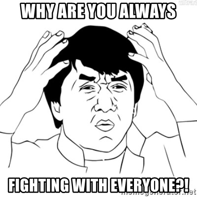Cartoon Jackie Chan - Why are you always Fighting with everyone?!