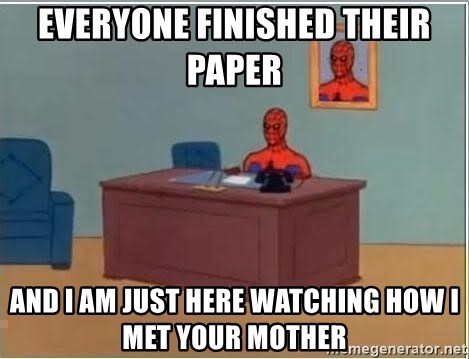 Spiderman Desk - everyone finished their paper  and i am just here watching how i met your mother