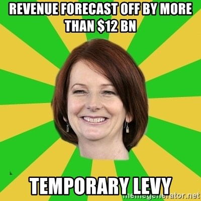 Julia Gillard - revenue forecast off by more than $12 bn temporary levy