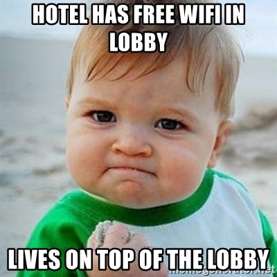 Victory Baby - Hotel has free wifi in lobby lives on top of the lobby