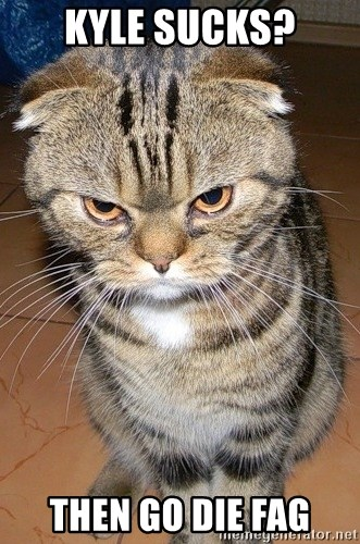 angry cat 2 - Kyle sucks? then go die FAG