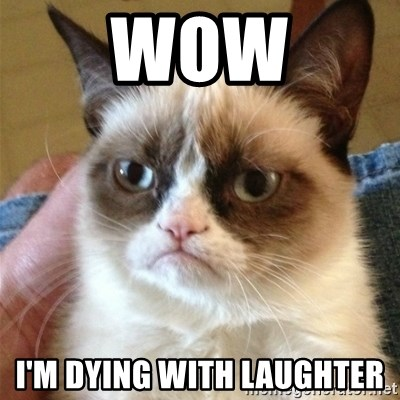 Grumpy Cat  - Wow I'm dying with laughter