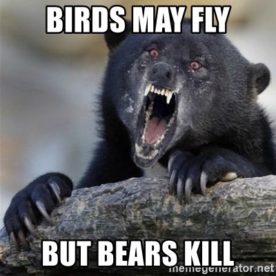 Insane Confession Bear - BIRDS MAY FLY BUT BEARS KILL