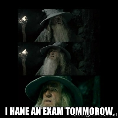 Confused Gandalf -  i hane an exam tommorow