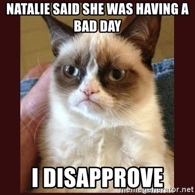 Tard the Grumpy Cat - Natalie said she was having a bad day I disapprove