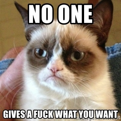 Grumpy Cat  - No one  gives a fuck what you want