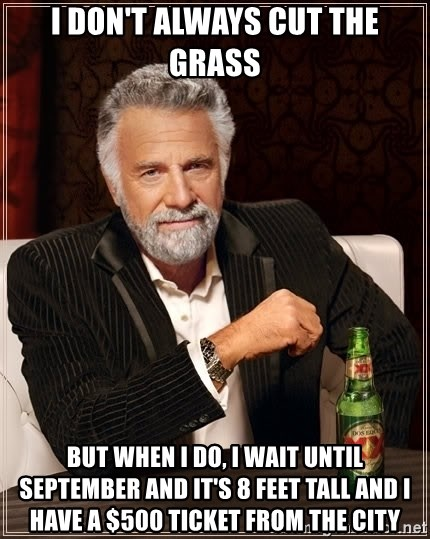 The Most Interesting Man In The World - I don't always cut the grass but when I do, I wait until september and it's 8 feet tall and I have a $500 ticket from the city