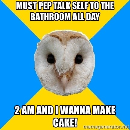 Bipolar Owl - must pep talk self to the bathroom all day 2 am and i wanna make cake!