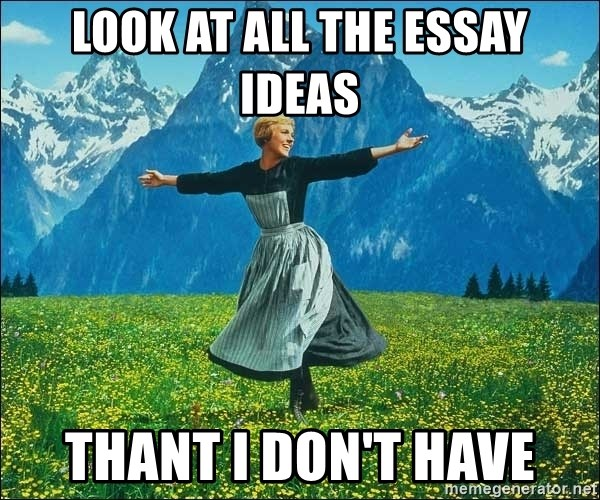 Look at all the things - look at all the essay ideas Thant I don't have