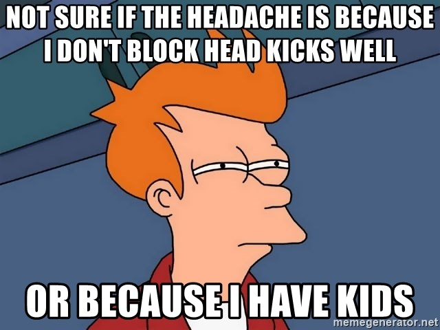 Futurama Fry - not sure if the headache is because I don't block head kicks well or because I have kids