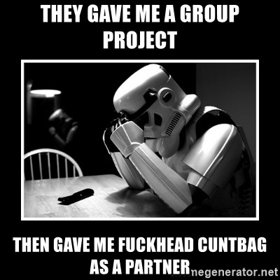 Sad Trooper - They gave me a group project Then gave me Fuckhead cuntbag as a partner