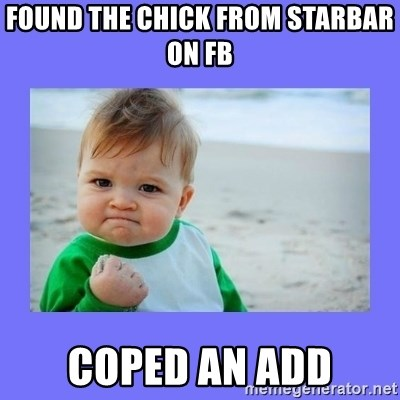 Baby fist - found the chIck fRom starbar on fb Coped an add