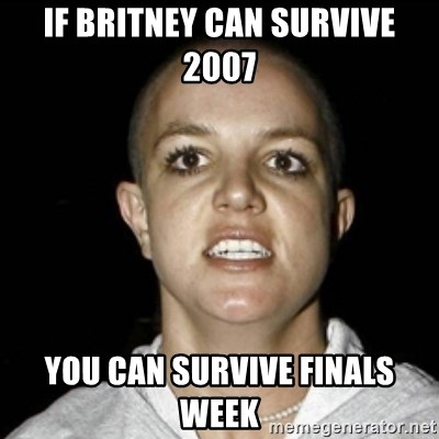 Bald Britney Spears - If britney can survive 2007 you can survive finals week
