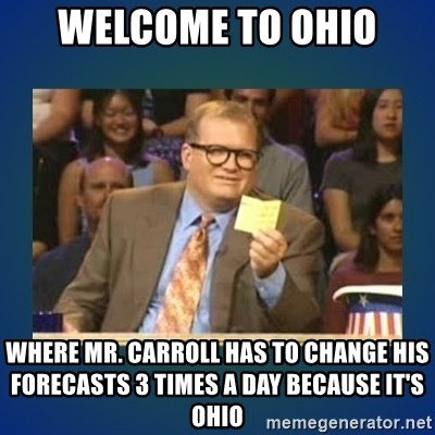 drew carey - Welcome to Ohio Where Mr. Carroll has to change his forecasts 3 times a day because it's Ohio