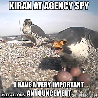 #CEFalcons - kiran at Agency spy I HAVE A VERY IMPORTANT ANNOUNCEMENT