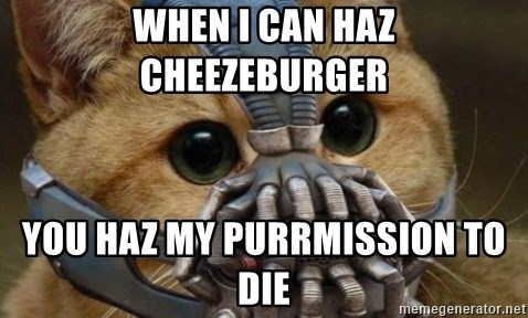 bane cat - When i can haz cheezeburger you haz my purrmission to die