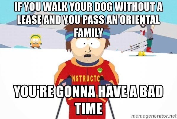 You're gonna have a bad time - if you walk your dog without a lease and you pass an oriental family you're gonna have a bad time