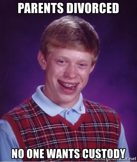 Bad Luck Brian - parents divorced no one wants custody