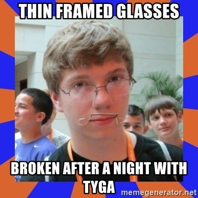 LOL HALALABOOS - thin framed glasses broken after a night with tyga