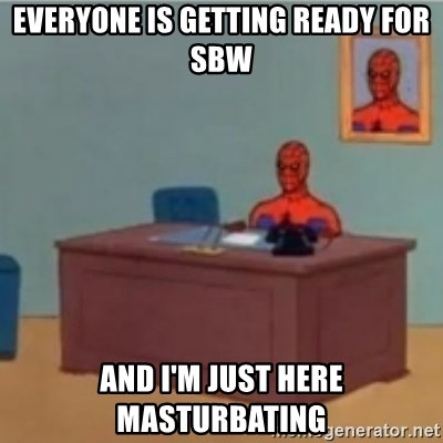 60s spiderman behind desk - everyone is getting ready for sbw and i'm just here masturbating